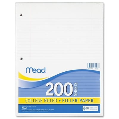 Filler Paper, College Ruled, 3 Hole Punched, 16 lb Stock, Red Margin Rule, 8-1/2x11, White, 200 Sheets/Pack