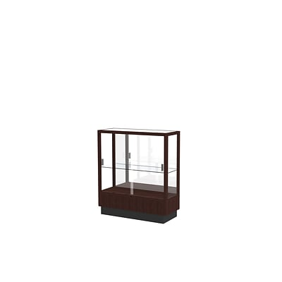 Waddell 40 x 36 Wood & Glass Tower Display Case, Espresso