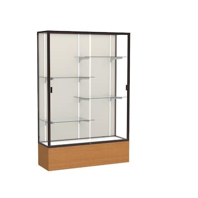"Waddell 72"" X 48"" Wood, Aluminum & Glass Trophy Display Case, Carmel Oak"