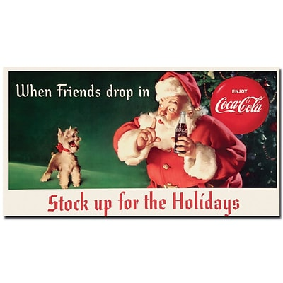 Trademark Coke Vintage Ad Stock up for the Holidays Gallery-Wrapped Canvas Art, 13 x 24