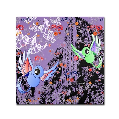 Trademark Miguel Paredes Purple Birds Gallery-Wrapped Canvas Art, 24 x 24