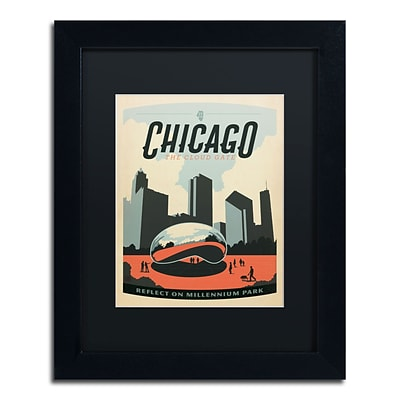 Trademark Anderson Chicago Cloud Gate Art, Black Matte With Black Frame, 11 x 14