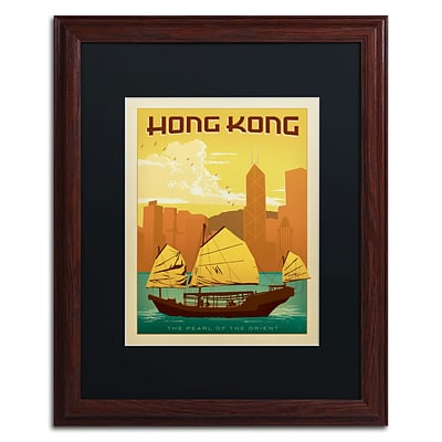 Trademark Anderson Hong Kong Art, Black Matte With Wood Frame, 16 x 20