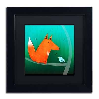 Trademark Carla Martell Fox in Tree Art, Black Matte W/Black Frame, 11 x 11