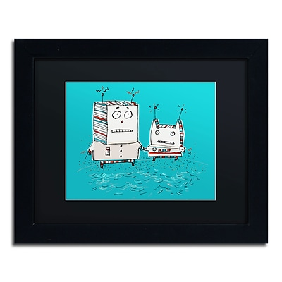 Trademark Carla Martell Robots on Beach Art, Black Matte W/Black Frame, 11 x 14