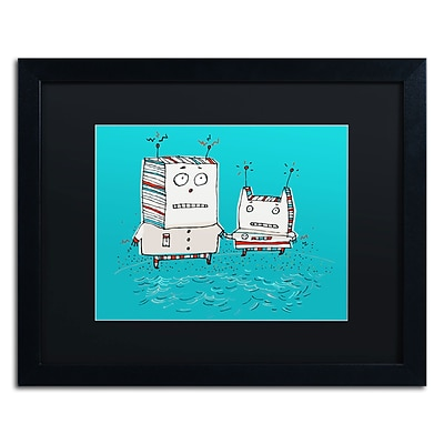 Trademark Carla Martell Robots on Beach Art, Black Matte W/Black Frame, 16 x 20
