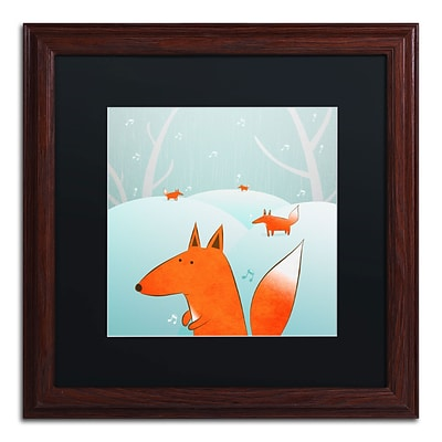 Trademark Carla Martell Winter Foxes Art, Black Matte W/Wood Frame, 16 x 16