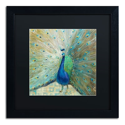 Trademark Danhui Nai Blue Peacock on Gold Art, Black Matte W/Black Frame, 16 x 16