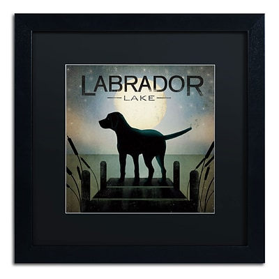 Trademark Ryan Fowler Moonrise Black Dog Labrador Lake Art, Black Matte W/Black Frame, 16 x 16