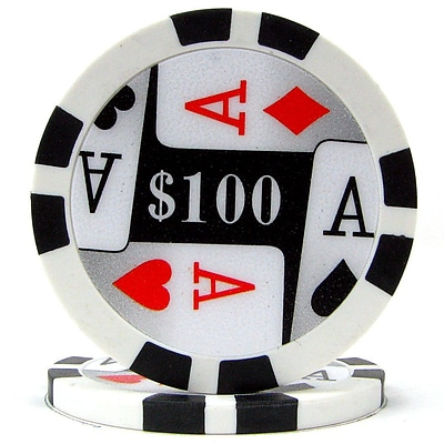 Trademark Poker™ 11.5g 4 Aces Premium $100 Poker Chips, Black, 50/Set