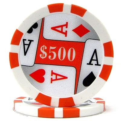 Trademark Poker 11.5g 4 Aces Premium $500 Poker Chips, Orange, 50/Set (886511330238)
