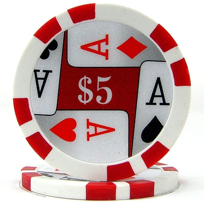 Trademark Poker™ 11.5g 4 Aces Premium $5 Poker Chips, Red, 100/Set