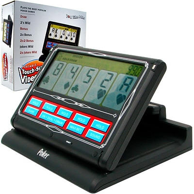 Trademark Poker™ 7 x 9 x 2 1/2 Portable 7-in-1 Touchscreen Video Poker, Black/White