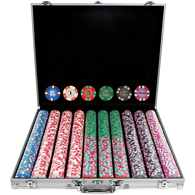 Trademark NexGen™ 9g Pro Classic Style 1000 Chips Poker Set With Aluminum Case