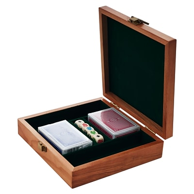 Trademark Poker™ 100 Chips Oak Poker Chip Case, Black