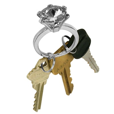 Trademark 7/8 x 2 1/8 x 1 1/4 Bling Diamond Silver Style Ring Key Chain, White Diamond Jewel