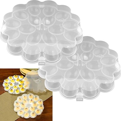 Trademark Chef Buddy™ Set of 2 Deviled Egg Trays With Snap On Lids; 36 Eggs