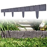 Trademark Pure Garden™ 10 Piece Cobblestone Flower Bed Border; Gray, 3/4 x 10 x 9