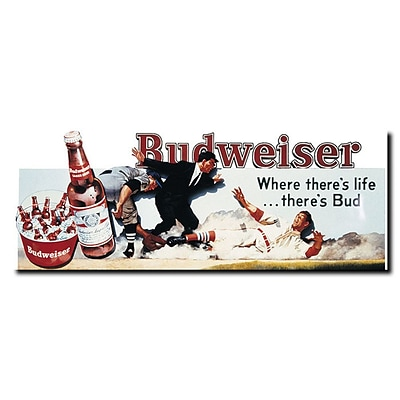 Trademark Budweiser Vintage Ad Baseball Gallery-Wrapped Canvas Art, 12 x 32