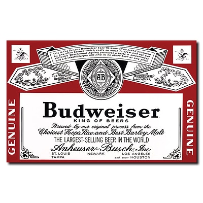 Trademark Budweiser Vintage Ad Beverage Label Gallery-Wrapped Canvas Art, 18 x 28
