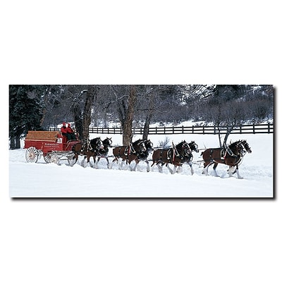 Trademark Budweiser Vintage Ad Clydesdales in Snow Covered.. Gallery-Wrapped Canvas Art, 20 x 47