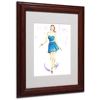 Trademark Jennifer Lilya Squeal For Teal Art, White Matte With Wood Frame, 11 x 14