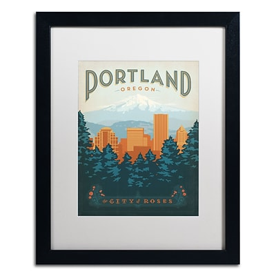 Trademark Anderson Portland Art, White Matte With Black Frame, 16 x 20