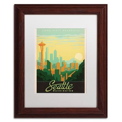 Trademark Anderson Seattle Art, White Matte With Wood Frame, 11 x 14