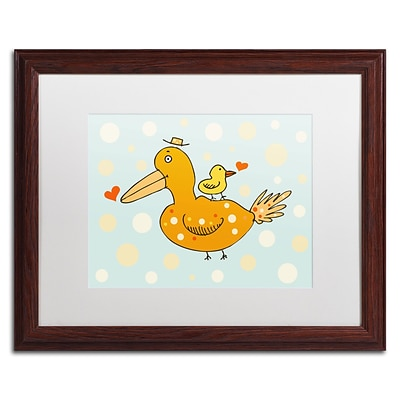 Trademark Carla Martell Bird and Baby Art, White Matte W/Wood Frame, 16 x 20