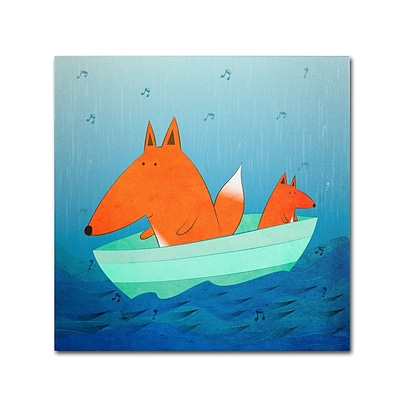 Trademark Carla Martell Fox in a Boat Gallery-Wrapped Canvas Art, 18 x 18