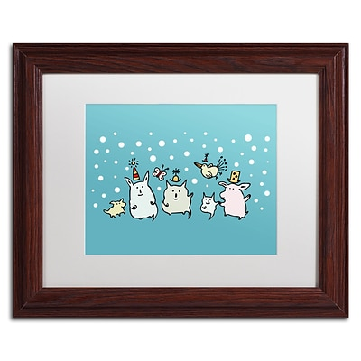 Trademark Carla Martell Christmas Creatures in Blue Art, White Matte W/Wood Frame, 11 x 14