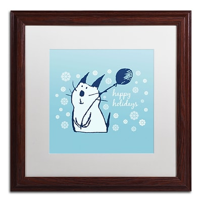 Trademark Carla Martell Christmas Party Cat Art, White Matte W/Wood Frame, 16 x 16
