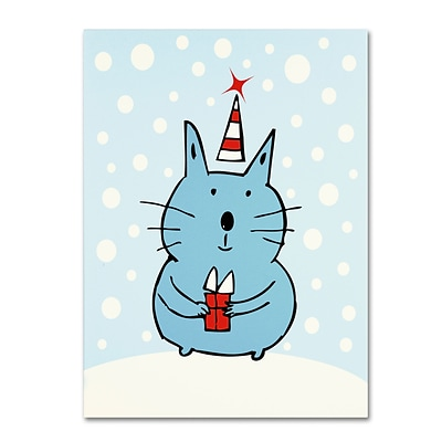 Trademark Carla Martell Christmas Snow Cat Gallery-Wrapped Canvas Art, 14 x 19