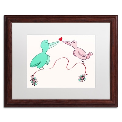 Trademark Carla Martell Love Birds Art, White Matte W/Wood Frame, 16 x 20