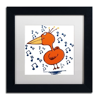 Trademark Carla Martell Music Bird Art, White Matte W/Black Frame, 11 x 11