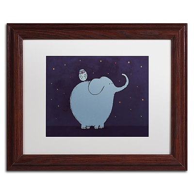Trademark Carla Martell Owl and Elephant Art, White Matte W/Wood Frame, 11 x 14