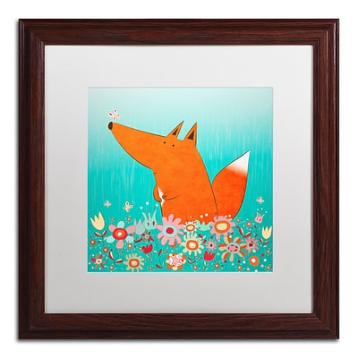 Trademark Carla Martell Fox in Flowers Art, White Matte W/Wood Frame, 16 x 16