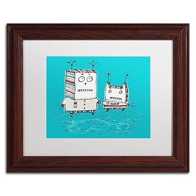 Trademark Carla Martell Robots on Beach Art, White Matte W/Wood Frame, 11 x 14