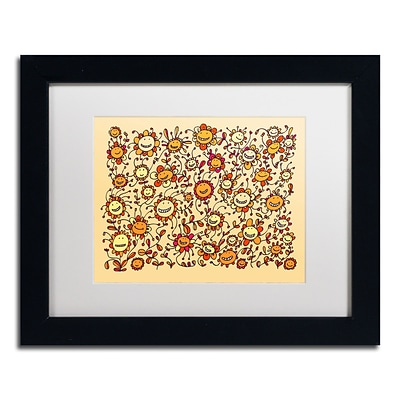Trademark Carla Martell Smiling Sunflowers Art, White Matte W/Black Frame, 11 x 14