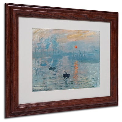 Trademark Claude Monet Impression Sunrise Art, White Matte With Wood Frame, 11 x 14