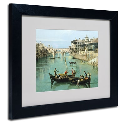Trademark Canaletto Arno River and Ponte Vecchio Art, White Matte With Black Frame, 11 x 14