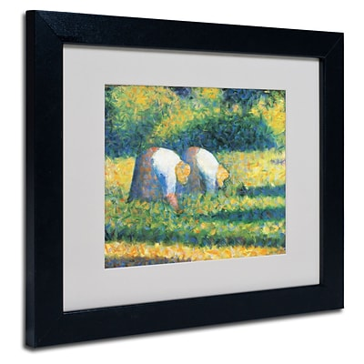 Trademark Georges Seurat Farmers at Work 1882 Art, White Matte With Black Frame, 11 x 14