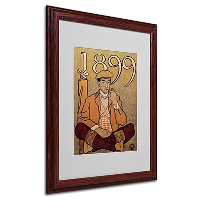 Trademark Edward Penfield Golf Calendar 1899 Art, White Matte With wood Frame, 16 x 20
