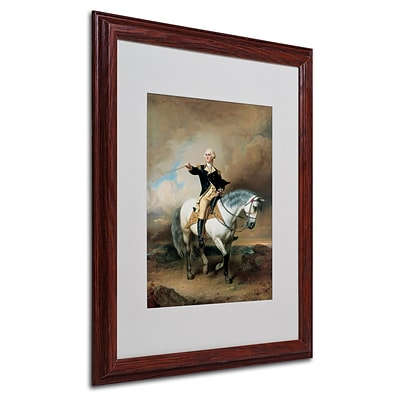 Trademark John Faed Portrait of George Washington Art, White Matte With Wood Frame, 16 x 20