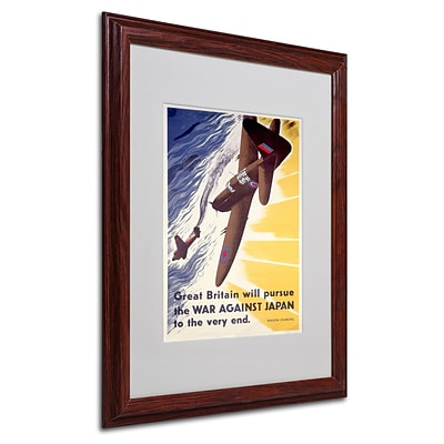 Trademark Britain Will Pursue War Against Japan Art, White Matte W/Wood Frame, 16 x 20