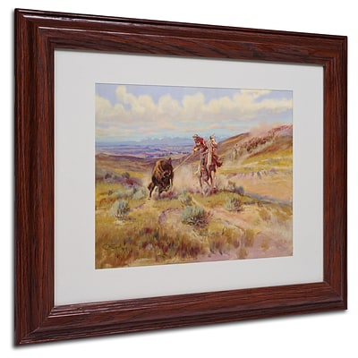 Trademark Charles Russell Spearing a Buffalo 1925 Art, White Matte With wood Frame, 11 x 14
