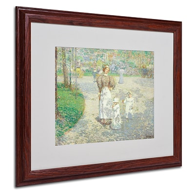Trademark Childe Hassam Spring in Central Park Art, White Matte With Wood Frame, 16 x 20