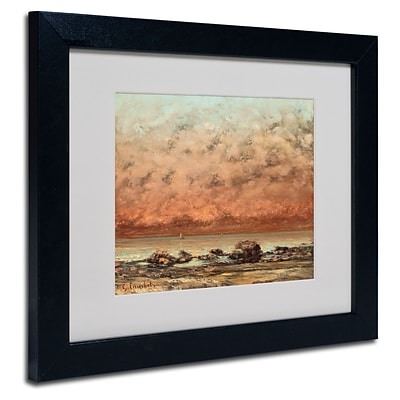 Trademark Gustave Courbet Black Rocks at Trouville Art, White Matte With Black Frame, 11 x 14