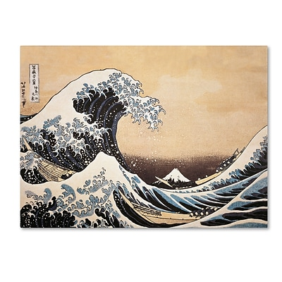 Trademark Katsushika Hokusai The Great Wave off Kanagawa Gallery-Wrapped Canvas Art, 18 x 24