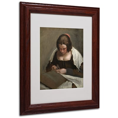 Trademark Diego Velazquez The Needlewoman 1640-50 Art, White Matte With wood Frame, 11 x 14